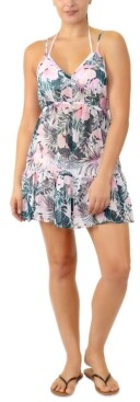 Miken Juniors' Adjustable Palm-Leaf-Print Cover-Up, Created for Macy's Women's Swimsuit