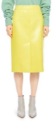 Tibi Crocodile-Embossed Patent Midi Skirt