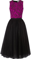 Badgley Mischka Jacquard and tulle top and skirt set