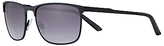 John Lewis Slimline Metal Rectangular Sunglasses, Black/grey Gradient