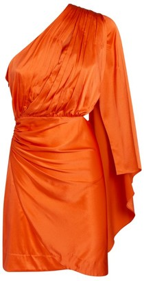 retrofete Pleated One-Shoulder Mae Dress