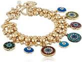 Betsey Johnson Mixed Eye Charm -Row Bracelet