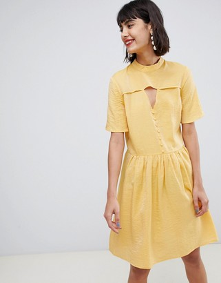 Pieces mini tea dress with button detail in yellow