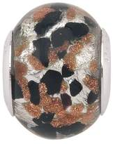 Persona Italian Glass Silver, Black & Copper Abstract Charm fits Pandora, Troll & Chamilia European Charm Bracelets