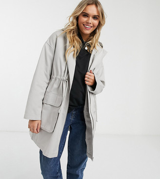 ASOS DESIGN Maternity lightweight parka in washed gray