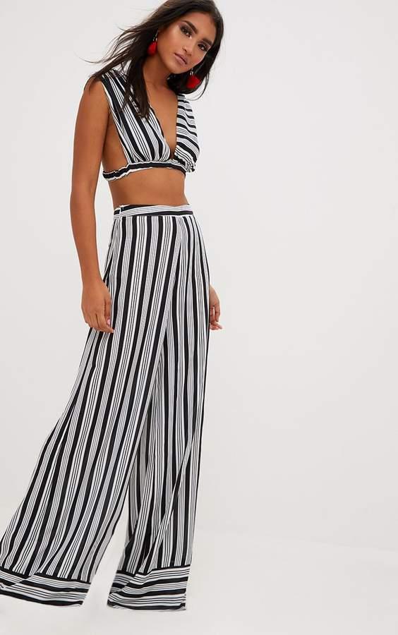 PrettyLittleThing Black Contrast Stripe Mix Wide Leg Trousers