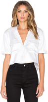 Equipment Short Sleeve Signature Silk Charmeuse Cropped Button Up