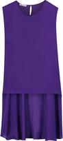 Oscar de la Renta Asymmetric draped stretch-silk top