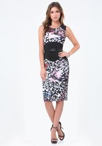 Bebe Print Corset Midi Dress