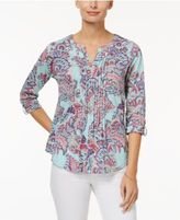 Charter Club Cotton Paisley-Print Top, Only at Macy's