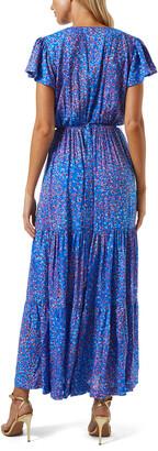 Melissa Odabash Blue Jay Ditsy-Print Tiered Maxi Dress