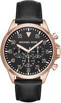 Michael Kors Men's Chronograph Gage Black Leather Strap Watch 45mm MK8535