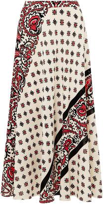 RED Valentino Printed Silk Midi Skirt