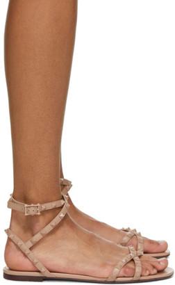 Valentino Pink Garavani Rockstud Flair Flat Sandals