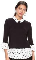 Elle Women's ElleTM Mock-Layer Bell Sleeve Top