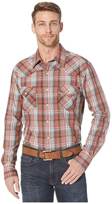 Cinch Long Sleeve Plaid Modern Fit (Blue 1) Men's Clothing