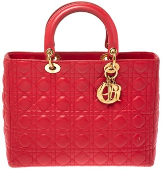 Christian Dior Red Cannage Leather Large Lady Tote
