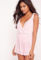 Missguided Striped Pyjama Teddy Pink