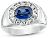 Zales Men's Lab-Created Blue and White Sapphire Frame Signet-Style Ring in Sterling Silver
