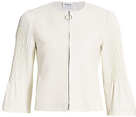 Akris Punto Women's Bell Sleeve Perforated Leather Jacket