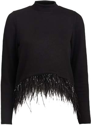 Saylor Milana Feather-Trimmed Sweater