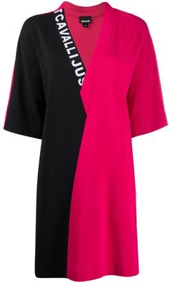 Just Cavalli colour-block V-neck dress