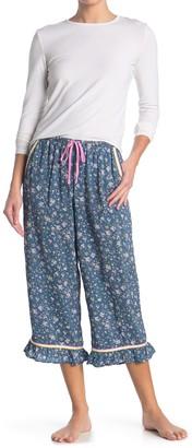 Kensie Floral Ruffled Capri Pajama Pants