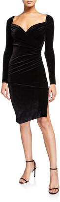 Norma Kamali Sweetheart Long-Sleeve Side Drape Velvet Dress