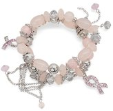 Charm & Chain Pink Ribbon Breast Cancer Awareness Jewelry Charm Chain Beaded Stretch Bracelet