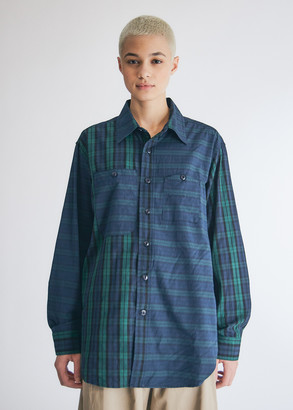 Engineered Garments Women's Work Shirt in Blackwatch Big Repeat Madra, Size 2XS | 100% Cotton