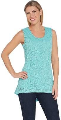Susan Graver Stretch Lace Peplum Sleeveless Top