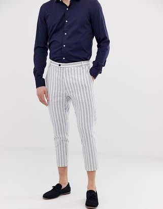 Gianni Feraud pleated linen stripe cropped trousers-White