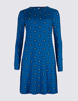 M&S Collection Printed Long Sleeve Skater Midi Dress