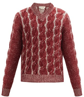 Marni V-neck Cable-knitted Wool-blend Sweater - Burgundy