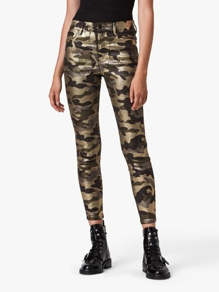 AllSaints Miller Camo Mid-Rise Skinny Jeans, Gold/Multi