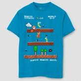Nintendo Boys' Mario Game Scene Short Sleeve T-Shirt - Turquoise