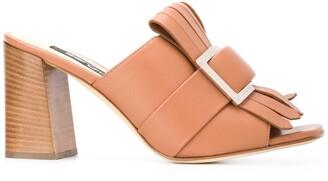 Sergio Rossi fringed buckle-embellished sandals