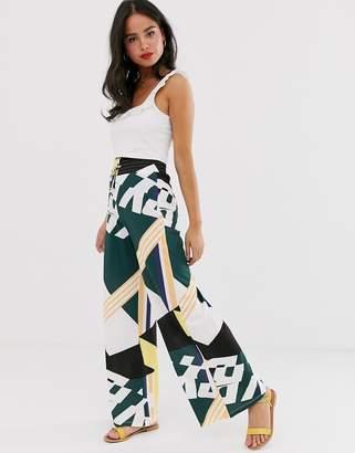 Asos DESIGN wide leg pants in spliced print