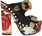 Fausto Puglisi roses print platform sandals - women - Calf Leather/Leather - 35