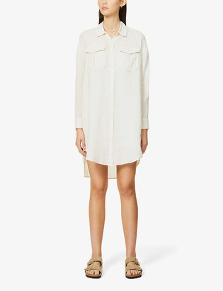 James Perse Stepped-hem collared linen shirt