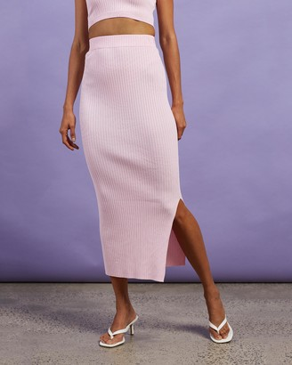 Dazie - Women's Pink Midi Skirts - Hey Girl Midi Split Skirt - Size S at The Iconic
