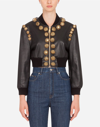 Dolce & Gabbana Leather Bomber Jacket With Decorations