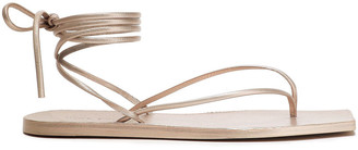 Rick Owens Lace-up Metallic Textured-leather Sandals