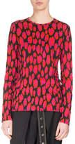 Proenza Schouler Ikat Leopard Long-Sleeve T-Shirt, Black/Pink/Pumpkin
