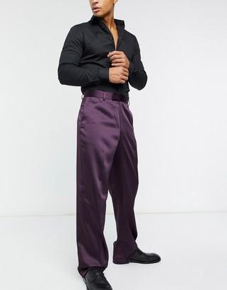 ASOS DESIGN high waist wide leg smart trousers in sateen
