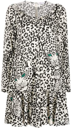 RED Valentino Leopard-Print Long-Sleeve Dress