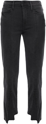 Frame Cropped Frayed High-rise Slim-leg Pants