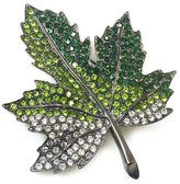 Kenneth Jay Lane Emerald Crystal & Gunmetal Maple Leaf Brooch Pin