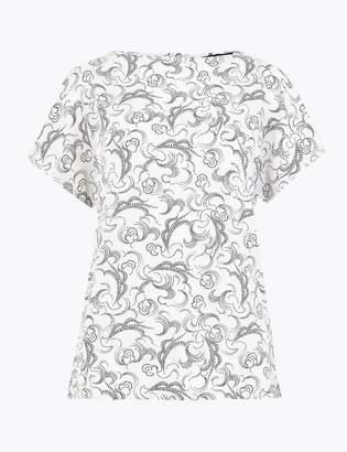 Marks and Spencer Swirl Print Round Neck Kimono Blouse