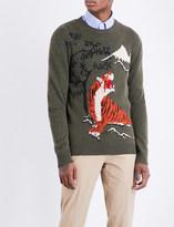 Ralph Lauren Purple Label Tiger-intarsia cashmere and wool blend jumper